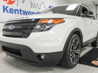 Used 2015 Ford Explorer Sport 4WD ecoboost with NAV, twin panel sunroof, heated power leather seats, heated steering wheel, back up cam and power liftgate for sale in Edmonton, AB