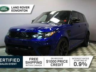 Used 2016 Land Rover Range Rover Sport SVR - CPO 6yr/160000kms manufacturer warranty included until October 30, 2022! CPO rates starting at 2.9%! Local One Owner Trade In   No Accident Claims (New Windshield Claimed on Insurance)   3M Protection Applied   550 Horsepower   Navigation   Su for sale in Edmonton, AB