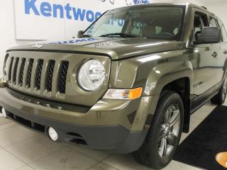 Used 2015 Jeep Patriot SPORT High Altitude FWD in army green with NAV, sunroof, heated power leather seats for sale in Edmonton, AB