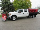 Used 2014 Ford F-350 Crew Cab 4x4 gas 9 ft flat deck, V plow, Salt spre for sale in Richmond Hill, ON