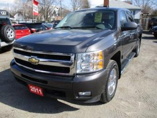 Used 2011 Chevrolet Silverado 1500 LOADED LTZ EDITION 5 PASSENGER 5.3L - VORTEC ENGINE.. 4X4.. CREW.. SHORTY.. LEATHER.. SUNROOF.. BLUETOOTH.. REMOTE START.. KEYLESS ENTRY.. for sale in Bradford, ON
