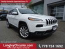 Used 2016 Jeep Cherokee Limited ACCIDENT FREE w/ 4X4, SAFETY TEC PACKAGE & LUXURY GROUP for sale in Surrey, BC