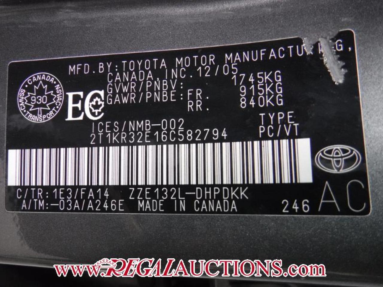 2006 Toyota MATRIX XR 4D HATCHBACK FWD