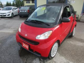 Used 2010 Smart fortwo FUEL EFFICIENT 'PURE MODEL' 2 PASSENGER 1.0L - 3 CYL.. CD PLAYER.. KEYLESS ENTRY.. POWER SUNROOF.. for sale in Bradford, ON