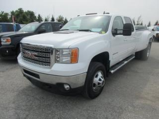 Used 2011 GMC Sierra 3500 1-TON DIESEL WORK READY SLT MODEL 5 PASSENGER 6.6L - DURAMAX.. 4X4.. CREW.. 8-FOOT DUAL-WHEEL.. LEATHER.. HEATED SEATS.. BACK-UP CAMERA.. for sale in Bradford, ON