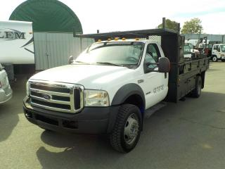 Used 2006 Ford F-550 XLT Regular Cab Dually Diesel 14 Foot Flat Deck for sale in Burnaby, BC