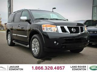 Used 2015 Nissan Armada Platinum - Local One Owner Trade In | No Accident Claims | Navigation | Back Up Camera | Parking Sensors | Rear DVD | Multi Zone Climate Control with AC | Power Sunroof | Running Boards | Heated Steering Wheel | BOSE Audio | Bluetooth | Heated Front/Rear  for sale in Edmonton, AB