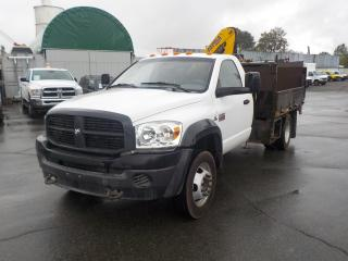 Used 2009 Dodge Ram 5500 Regular Cab Dually Cummins Diesel 9 Foot Flat Deck 2WD w/ Crane & Power Lift Gate for sale in Burnaby, BC