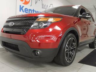 Used 2017 Ford Explorer Sport 4WD ecoboost with twin panel sunroof, heated/cooled power seats with heated steering wheel, TWO DVD systems in the back, and a power liftgate for sale in Edmonton, AB