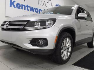 Used 2017 Volkswagen Tiguan Wolfsburg Edition 2.0 TSI with power leather seats, back up cam and an easy to use push start/stop for sale in Edmonton, AB