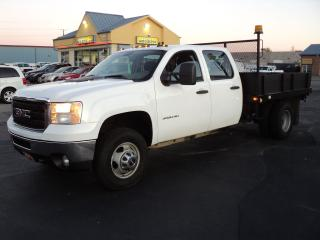 Used 2013 GMC Sierra 3500 CrewCab 4X4 6.0L DRW 9X8ft FlatBed for sale in Brantford, ON