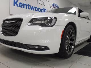 Used 2016 Chrysler 300 300S with heated power leather seats, back up cam, and a gleaming white exterior for sale in Edmonton, AB
