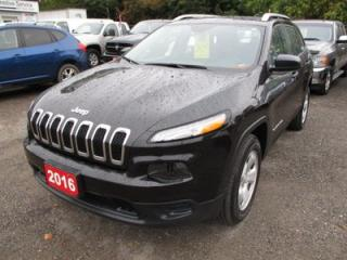 Used 2016 Jeep Cherokee POWER EQUIPPED SPORT EDITION 5 PASSENGER 2.4L - DOHC.. 4X4.. CD/AUX/USB INPUT.. SELEC-TERRAIN SHIFTING.. for sale in Bradford, ON