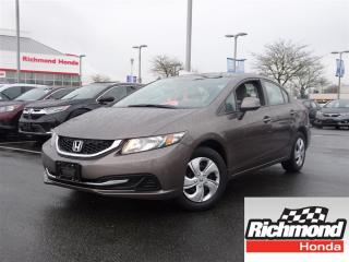 Used 2013 Honda Civic LX! Honda Certified Extended Warranty to 160, 000 for sale in Richmond, BC