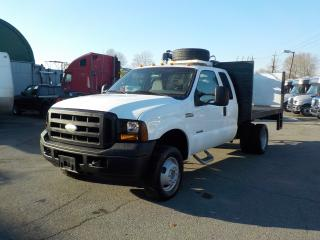 Used 2007 Ford F-350 SD XL SuperCab Dually Diesel 10 Foot Flat Deck 4WD with Power Tailgate & Crane for sale in Burnaby, BC