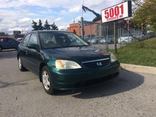 Used 2001 Honda Civic AUTO,4DOORS,206K,SAFETY+3YEARS WARRANTY INCLUDED for sale in North York, ON