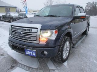 Used 2014 Ford F-150 LOADED PLATINUM MODEL 5 PASSENGER 3.5L - V6.. 4X4.. CREW.. SHORTY.. LEATHER.. HEATED/AC SEATS.. NAVIGATION.. BACK-UP CAMERA.. SUNROOF.. for sale in Bradford, ON