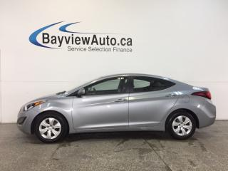 Used 2016 Hyundai Elantra L- 1.8L|AUTO|ECO MODE|A/C|CRUISE|LOW KM! for sale in Belleville, ON