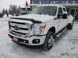 Used 2016 Ford F-350 LOADED LARIAT EDITION 5 PASSENGER 6.7L - DIESEL.. 4X4.. CREW.. 8-FOOT DUALLY.. LEATHER.. HEATED/AC SEATS.. NAVIGATION.. SUNROOF.. BACK-UP CAMERA.. for sale in Bradford, ON