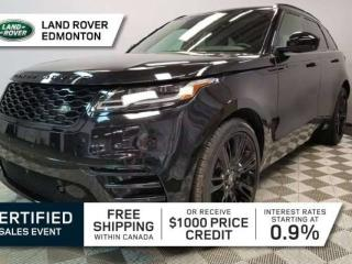 Used 2018 Land Rover RANGE ROVER VELAR P380 HSE R-Dynamic Black Pack - CPO 6yr/160000kms manufacturer warranty included until Febuary 8, 2024! CPO rates starting at 3.9%! Local One Owner Trade In   No Accidents   3M Protection Applied   Configurable Dynamics   Massage Seats   Shadow Aluminium  for sale in Edmonton, AB