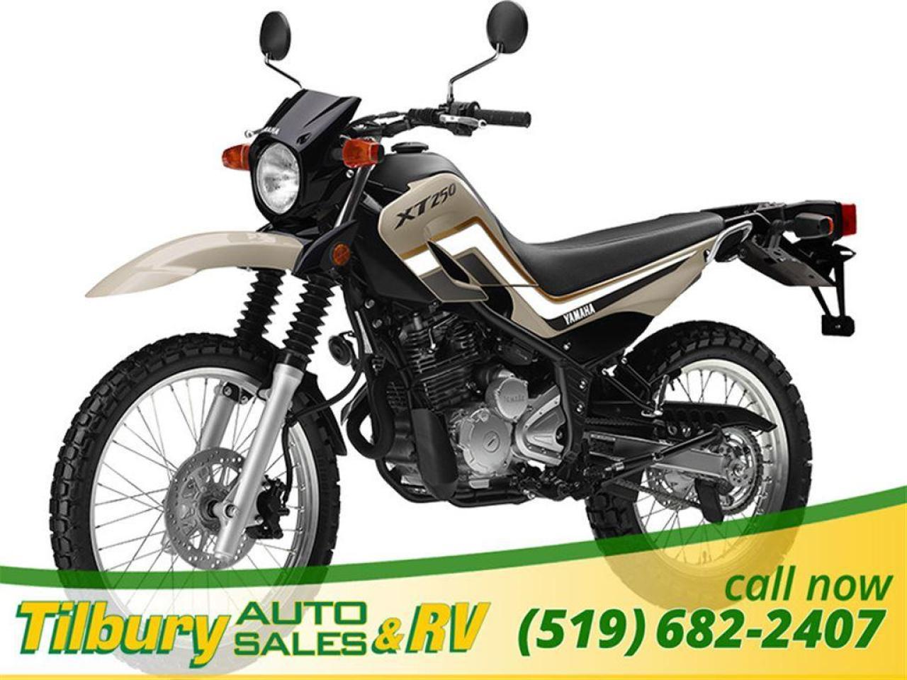 2018 Yamaha XT250 249cc, 2-valve, 4-stroke single.
