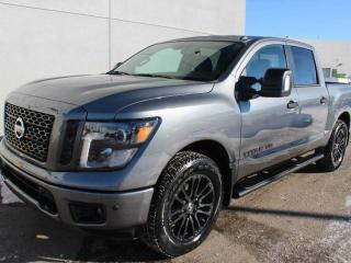 New 2018 Nissan Titan MIDNIGHT: Navigation, Blind Spot Warning, Heated front seats, RearView Monitor, Running boards, Front and Rear Sonar System, Utili-track Channel System, LED under-rail bed and tailgate lighting, spray-on bedliner, Trailer Brake Controller and Trailer Ligh for sale in Edmonton, AB