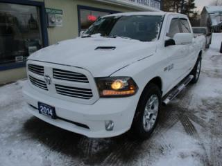 Used 2014 Dodge Ram 1500 LOADED SPORT MODEL 5 PASSENGER 5.7L - V8.. 4X4.. CREW.. SHORTY.. LEATHER TRIM.. NAVIGATION.. AUX/USB INPUT.. BLUETOOTH SYSTEM.. KEYLESS START.. for sale in Bradford, ON