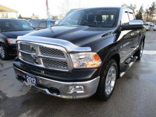Used 2012 Dodge Ram 1500 LOADED LARAMIE MODEL 5 PASSENGER 5.7L - V8.. 4X4.. QUAD-CAB.. SHORTY.. LEATHER.. HEATED/AC SEATS.. SUNROOF.. NAVIGATION.. BACK-UP CAMERA.. for sale in Bradford, ON