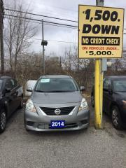 Used 2014 Nissan Versa Sedan 100% APPROVED- 1.6L Economical import sedan for sale in Toronto, ON