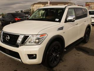 New 2018 Nissan Armada PLATINUM RESERVE: Premium two-tone leather-appointed seats with contrast stitching, Platinum Reserve exterior and interior badging, Second-row fold-down captain's chairs with easy entry for third row, Heated and cooled front seats, Heated rear outboard se for sale in Edmonton, AB