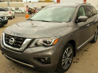 New 2018 Nissan Pathfinder PLATINUM: DVD video playback capability, Chrome body side mouldings, Tri-Zone Entertainment System with dual head restraint-mounted, 203 mm (8.0