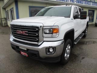 Used 2015 GMC Sierra 2500 HD LOADED SLE MODEL 6 PASSENGER 6.6L - DURAMAX.. 4X4.. CREW.. SHORTY.. LEATHER.. NAVIGATION.. BACK-UP CAMERA.. TRAILER BRAKE.. for sale in Bradford, ON