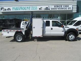 Used 2011 Ford F-550 Ext Cab 4x4 Diesel with crane flat deck for sale in Richmond Hill, ON