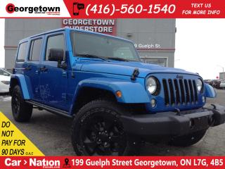 Used 2015 Jeep Wrangler Unlimited Sahara NAVI|LEATHER| 2 TOPS| BLACK WHEELS for sale in Georgetown, ON