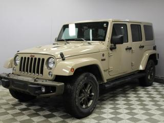 Used 2016 Jeep Wrangler Unlimited Unlimited Sahara 75th Anniversary Edition - Local One Owner Edmonton Trade In | No Accidents | Hard/Soft Top Included | Factory Remote Starter | 17 Inch Wheels | Navigation | Leather/Sport Cloth Heated Seats | Trailer Hitch | Running Boards | Cl for sale in Edmonton, AB