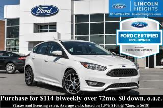 Used 2016 Ford Focus SE SPORT PKG HATCH - CPO - BLUETOOTH - HEATED SEATS - REMOTE START for sale in Ottawa, ON