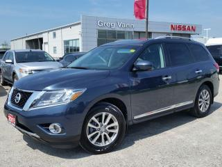 Used 2015 Nissan Pathfinder SL AWD w/3rd row seating,all leather,NAV,rear cam,pwr moonroof,climate controlleather,rear panoramic roof for sale in Cambridge, ON