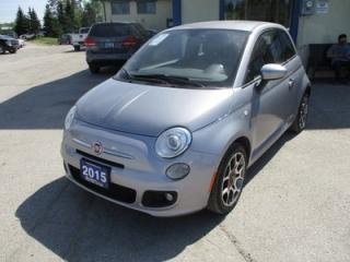 Used 2015 Fiat 500 FUEL EFFICIENT 'SPORTY' 4 PASSENGER 1.4L - 4 CYL.. LEATHER TRIM.. CD/AUX/USB INPUT.. 'SPORT-MODE' PACKAGE.. KEYLESS ENTRY.. for sale in Bradford, ON