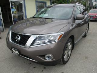 Used 2014 Nissan Pathfinder LOADED PLATINUM MODEL 7 PASSENGER 3.5L - V6.. 4WD.. BENCH & 3RD ROW.. LEATHER.. AC SEATS.. DUAL SUNROOF.. DUAL DVD PLAYER.. BACK-UP CAMERA.. for sale in Bradford, ON