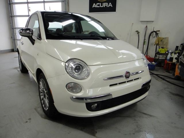 2012 Fiat 500 Lounge,ROOF,WHITE ON RED,MINT