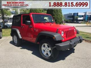 Used 2016 Jeep Wrangler SPORT for sale in Richmond, BC