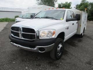 Used 2009 Dodge Ram 3500 1-TON DIESEL WORK READY SLT EDITION 6 PASSENGER 6.7L - CUMMINS.. 4X4.. QUAD-CAB.. UTILITY-BOX.. CD/AUX INPUT.. TRAILER BRAKE.. for sale in Bradford, ON