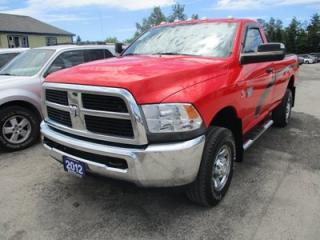 Used 2012 Dodge Ram 2500 3/4 TON WORK READY SLT EDITION 3 PASSENGER 6.7L - DIESEL.. 4X4.. REGULAR CAB.. 8-FOOT BOX.. CD/AUX INPUT.. KEYLESS ENTRY.. for sale in Bradford, ON
