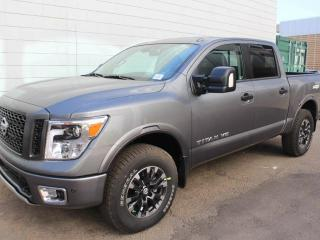 New 2018 Nissan Titan PRO-4X LUXURY: Leather, Navigation, Blind Spot Warning, Heated and cooled front seats, Intelligent Around View Monitor (360 Camera), Hill descent control, electronic locking rear differential, Bilstein off-road performance shocks, 18