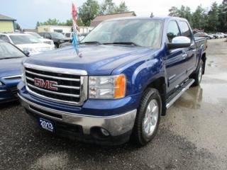 Used 2013 GMC Sierra 1500 LOADED SLT EDITION 5 PASSENGER 5.3L - V8.. 4X4.. CREW.. SHORTY.. LEATHER.. HEATED/AC SEATS.. POWER SUNROOF.. BACK-UP CAMERA.. POWER MIRRORS.. for sale in Bradford, ON