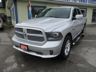 Used 2015 Dodge Ram 1500 LOADED 'SPORTY' 5 PASSENGER 5.7L - V8.. 4X4.. CREW.. SHORTY.. LEATHER.. AUX/USB INPUT.. BLUETOOTH SYSTEM.. POWER REAR WINDOW.. for sale in Bradford, ON