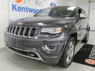 Used 2014 Jeep Grand Cherokee 4x4 Overland with NAV, sunroof, heated/cooled power leather seats, heated steering wheel, heated rear seats for sale in Edmonton, AB
