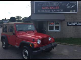 Used 2002 Jeep Wrangler TJ SE for sale in Kingston, ON