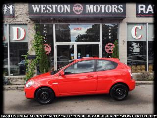 Used 2008 Hyundai Accent AUTO*AUX*UNBELIEVABLE SHAPE!!*WOW CERTIFIED!!* for sale in Toronto, ON