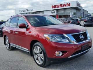Used 2015 Nissan Pathfinder Platinum 4x4 w/all leather,NAV,dual rear DVD,climate control,rear cam,panoramic roof,heated seats,lane assist,3rd row seating,cooled seats for sale in Cambridge, ON
